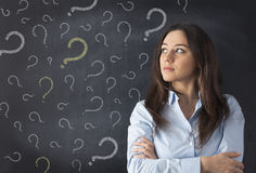 Young woman thinking with blackboard. Thinking business woman in front of question marks drawn on blackboard Stock Photo