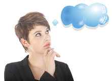 Young woman thinking with blue cloud Royalty Free Stock Photography