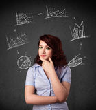 Young woman thinking with charts circulation around her head Stock Images