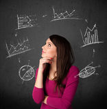 Young woman thinking with charts circulation around her head Stock Photo