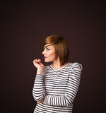 Young woman thinking with copy space Royalty Free Stock Photos