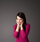 Young woman thinking with copy space Stock Image