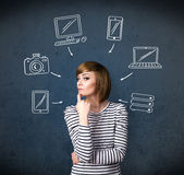 Young woman thinking with drawn gadgets around her head Stock Images