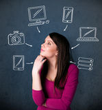 Young woman thinking with drawn gadgets around her head Royalty Free Stock Image