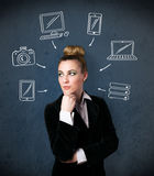 Young woman thinking with drawn gadgets around her head Royalty Free Stock Photos