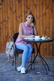 Young woman thinking about the future on the table Royalty Free Stock Photo