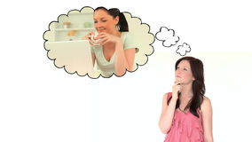 Young woman thinking of leisure stock footage
