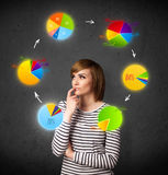 Young woman thinking with pie charts circulation around her head Stock Image