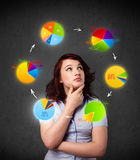 Young woman thinking with pie charts circulation around her head Royalty Free Stock Photo