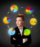 Young woman thinking with pie charts circulation around her head Stock Photos