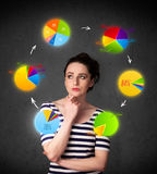 Young woman thinking with pie charts circulation around her head Royalty Free Stock Images