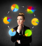 Young woman thinking with pie charts circulation around her head Stock Photo