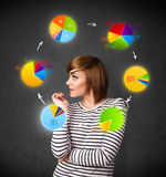 Young woman thinking with pie charts circulation around her head Royalty Free Stock Photography