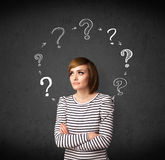 Young woman thinking with question mark circulation around her h Stock Images