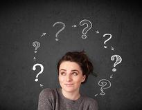 Young woman thinking with question mark circulation around her h Stock Image
