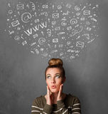 Young woman thinking with social network icons above her head Royalty Free Stock Photo