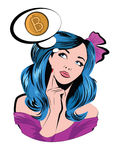Young woman with thought bubble dreaming about bitcoin. Vector illustration Stock Photo