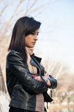 Young woman thought. On nature Royalty Free Stock Photo