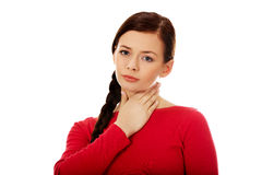 Young woman with throat ache Stock Images