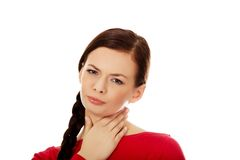 Young woman with throat ache Stock Image