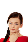 Young woman with throat ache Stock Photos