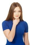 Young woman with a throat pain. Royalty Free Stock Photography