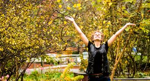 Young woman throw leaves up stock photos
