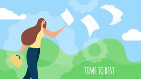 Young Woman Throw Out Paper Document Summer Banner royalty free illustration