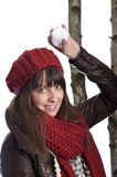 Young woman throwing a snow ball Stock Photos