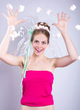 Young woman throws a candy-marshmallow, makeup style beauty fant Royalty Free Stock Photography