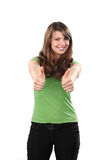 Young woman thumb up on white background Royalty Free Stock Photography