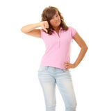 Young woman with thumbs down Stock Photography