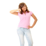 Young woman with thumbs down Stock Photo