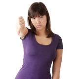 Young woman with thumbs down Royalty Free Stock Photo