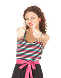 Young woman with thumbs up. Portrait of young woman with thumbs up white background Stock Image