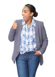 Young woman with thumbs up gesture. Portrait of a young woman with thumbs up gesture showing success Royalty Free Stock Photo