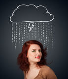 Young woman with thundercloud above her head Stock Photo
