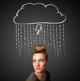 Young woman with thundercloud above her head Royalty Free Stock Photo