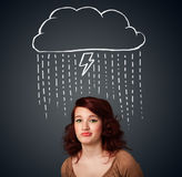 Young woman with thundercloud above her head Stock Images
