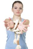 Young woman with tied up hands Stock Photography