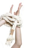 Young woman with tied up hands Royalty Free Stock Photo