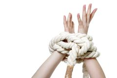 Young woman with tied up hands Stock Image