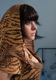 Young woman in tiger pattern hood. Portrait of young woman in tiger pattern hood royalty free stock images