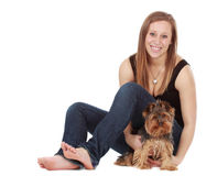 Young woman with tiny dog Royalty Free Stock Photos