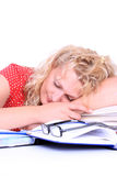 Young woman, tired of studying Royalty Free Stock Photos