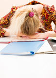 Young woman tired at work.  Royalty Free Stock Photography