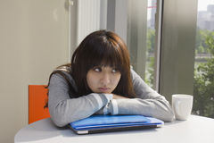 Young woman tired with work Royalty Free Stock Photography