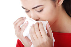 Young woman with tissue Stock Photos