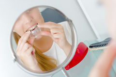 Young woman to dentist`s Royalty Free Stock Photo