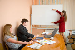 Young woman to speak at a meeting Stock Photos